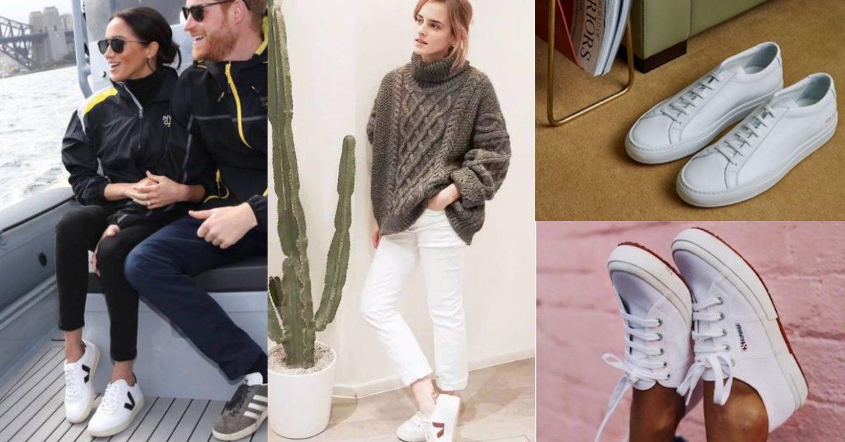 白鞋永遠缺一雙!從梅根、蔡依林到艾瑪華森都瘋搶,這6家歐美小白鞋放進購物清單