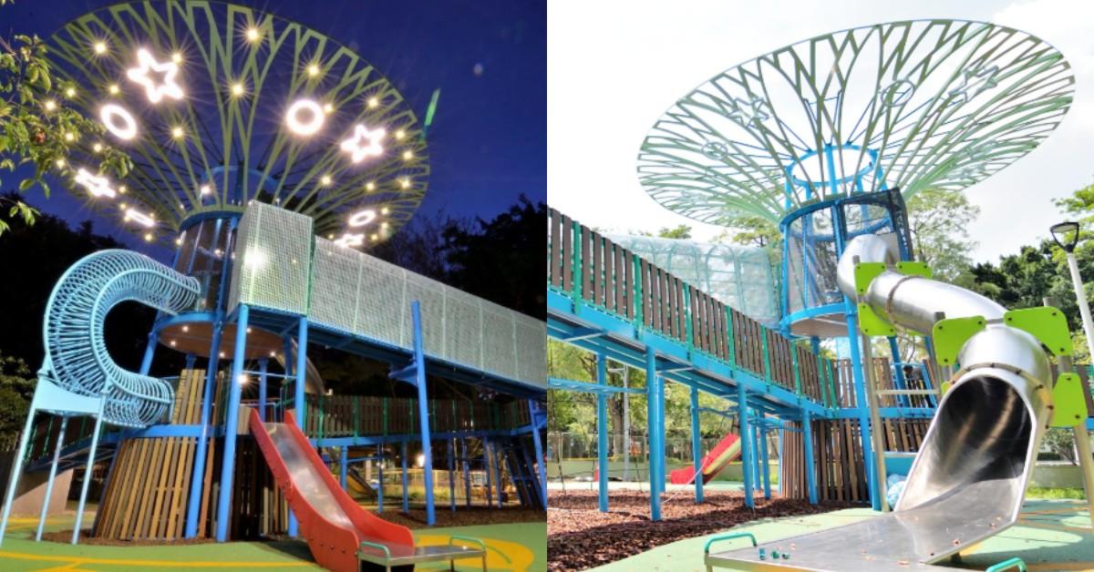 台北野放孩子天堂!士林前港公園「天空樹遊戲場」除了4.5米的溜滑梯還有星星燈