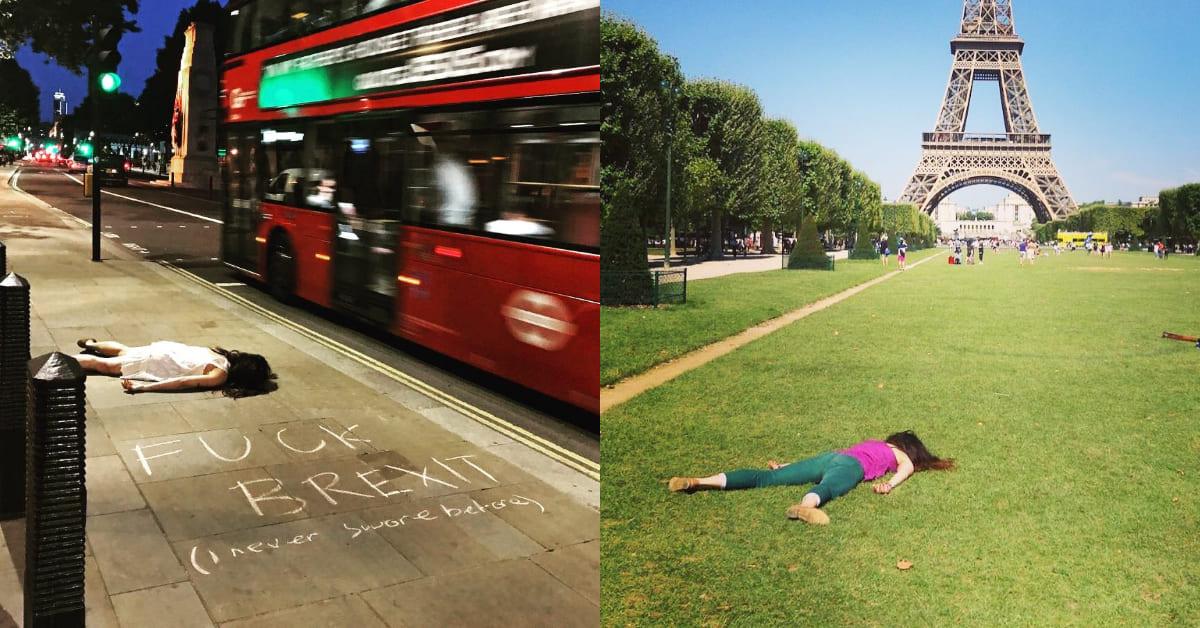 女孩「躺屍照」紅翻全球,魔性背影笑翻網友:「就像死在世界各地!」